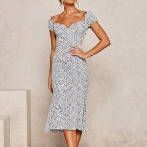 Puff Sleeves Floral Print Midi Dress